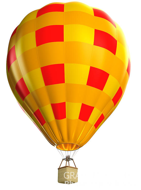 Hot Air Balloon on white background. Cut out. Computer generated Image. CGI. 3D Render