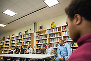 Robert Rosenthal, Marissa Canez, Cristino Rivera, Freddie Smith, Aracelio Rivera, and Montell Allen, left to right, present during the Black Student Union seminar at Milpitas High School in Milpitas, California, on February 27, 2016. (Stan Olszewski/SOSKIphoto)