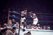 28 Jan 1972:  Joe Frazier, right, battles Muhammad Ali during their second bout, Ali vs Frazier II, in New York, NY. .Mandatory Credit:  Icon Sports Media