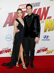 David Dastmalchian and Evelyn Leigh at the Los Angeles premiere of 'Ant-Man And The Wasp' held at the El Capitan Theatre in Hollywood, USA on June 25, 2018.