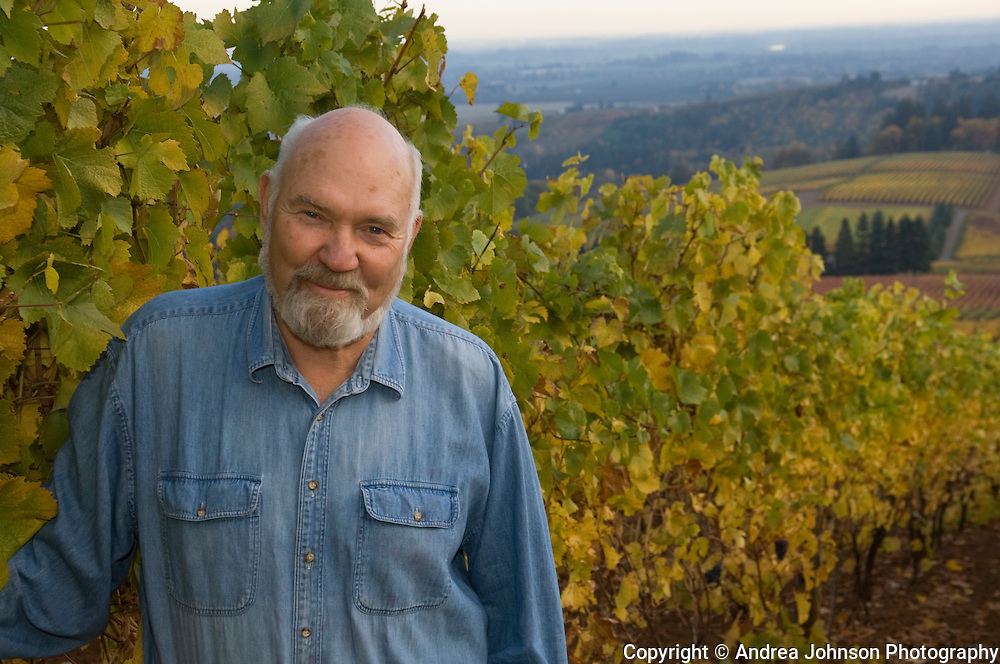 Dick Erath at his home estate vineyard, Dundee Hills, Oregon