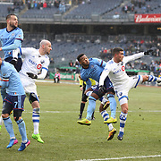 NEW YORK, NEW YORK - March 18: Ethan White #3 of New York City FC and Adrian Arregui #14 of Montreal Impact challenge for a cross from a free kick during the New York City FC Vs Montreal Impact regular season MLS game at Yankee Stadium on March 18, 2017 in New York City. (Photo by Tim Clayton/Corbis via Getty Images)