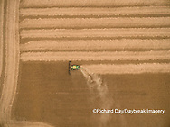 63801-09602 Soybean Harvest, John Deere combine harvesting soybeans - aerial - Marion Co. IL
