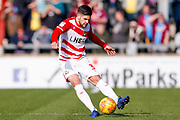 Doncaster Rovers defender Danny Andrew (3) in action  during the EFL Sky Bet League 1 match between Scunthorpe United and Doncaster Rovers at Glanford Park, Scunthorpe, England on 23 February 2019.