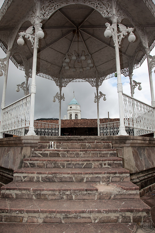"""""""La Plaza in San Sebastian 1"""" - This bandstand was photographed in the small mountain town of San Sebastian, Mexico."""