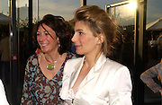 Ghislaine Maxwell and Mrs. Rolf Schs, Opening of Albion Gallery hosted by Michael Hue Williams and Cartier with an exhibition by Mark di Suvero,  Battersea. 13 June 2004. ONE TIME USE ONLY - DO NOT ARCHIVE  © Copyright Photograph by Dafydd Jones 66 Stockwell Park Rd. London SW9 0DA Tel 020 7733 0108 www.dafjones.com