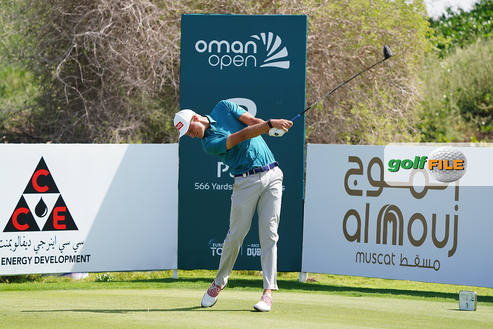 Adrian Meronk (POL) on the 3rd during Round 2 of the Oman Open 2020 at the Al Mouj Golf Club, Muscat, Oman . 28/02/2020<br /> Picture: Golffile | Thos Caffrey<br /> <br /> <br /> All photo usage must carry mandatory copyright credit (© Golffile | Thos Caffrey)
