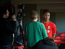 LIVERPOOL, ENGLAND - Friday, April 10, 2015: Liverpool's Raheem Sterling during the launch for the New Balance 2015/16 home kit at Anfield. (Pic by David Rawcliffe/Propaganda)