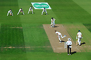Stuart Broad of England bowling to Steve Smith of Australia during the 5th International Test Match 2019 match between England and Australia at the Oval, London, United Kingdom on 13 September 2019.
