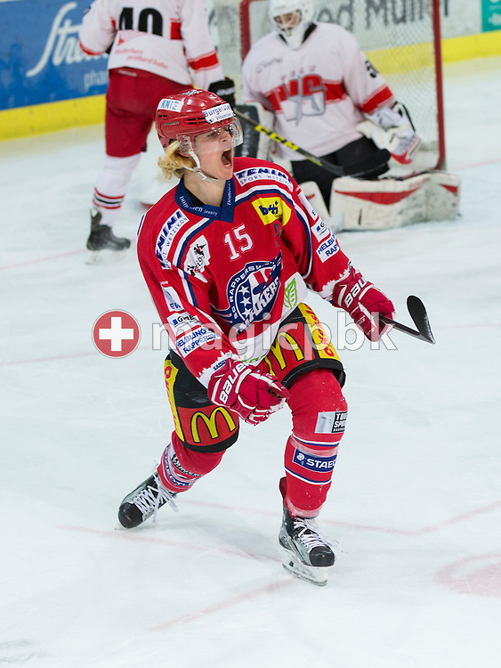 Rapperswil-Jona Lakers forward Manuel Laimbacher celebrates after scoring to the score of 1-0 during the third Elite B 1/2 final Playoff ice hockey game between Rapperswil-Jona Lakers and EHC Visp held at the SGKB Arena in Rapperswil, Switzerland, Friday, Mar. 3, 2017. (Photo by Patrick B. Kraemer / MAGICPBK)