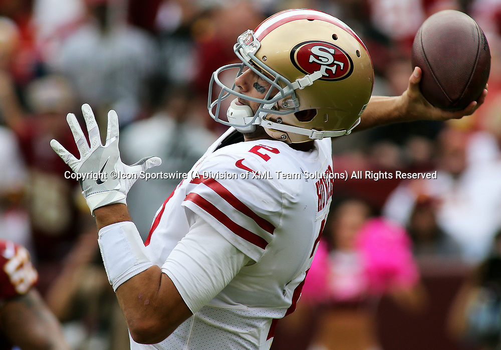 COLLEGE PARK, MD - OCTOBER 15: San Francisco 49ers quarterback Brian Hoyer (2) heaves a throw during a match between the Washington Redskins and the San Francisco 49ers on October 15, 2017, at FedExField in Landover, MD. (Photo by Daniel Kucin Jr./Icon Sportswire)