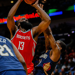 Jan 26, 2018; New Orleans, LA, USA; Houston Rockets guard James Harden (13) shoots over New Orleans Pelicans guard DeAndre Liggins (34) during the second quarter at the Smoothie King Center. Mandatory Credit: Derick E. Hingle-USA TODAY Sports
