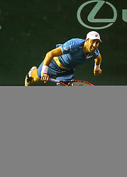 April 13, 2018 - Houston, TX, U.S. - HOUSTON, TX - APRIL 13:  Steve Johnson of the United States watches his serve in the match against John Isner of the United States during the Quarterfinal round of the Men's Clay Court Championship on April 13, 2018 at River Oaks Country Club in Houston, Texas.  (Photo by Leslie Plaza Johnson/Icon Sportswire) (Credit Image: © Leslie Plaza Johnson/Icon SMI via ZUMA Press)