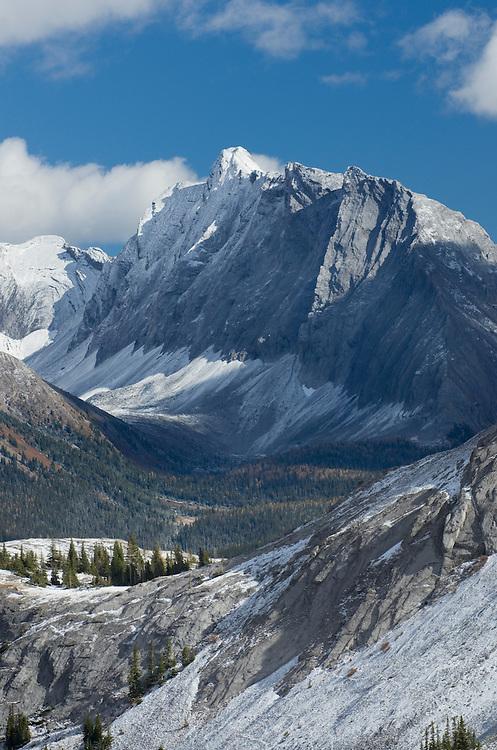 Fresh autumn snowfall on the Kanansskis Range seen from Burstall Pass, Kananaskis Country Alberta