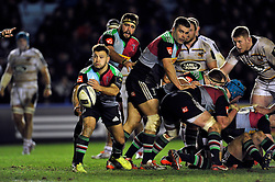 Danny Care of Harlequins passes the ball - Photo mandatory by-line: Patrick Khachfe/JMP - Mobile: 07966 386802 17/01/2015 - SPORT - RUGBY UNION - London - The Twickenham Stoop - Harlequins v Wasps - European Rugby Champions Cup