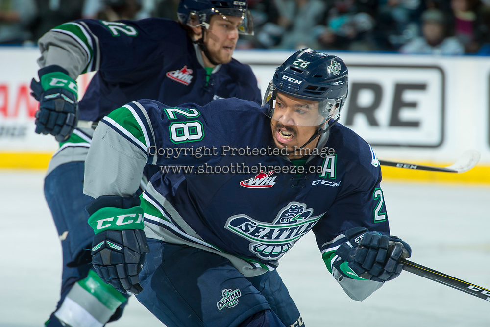 KELOWNA, CANADA - APRIL 25: Keegan Kolesar #28 of the Seattle Thunderbirds skates against the Kelowna Rockets on April 25, 2017 at Prospera Place in Kelowna, British Columbia, Canada.  (Photo by Marissa Baecker/Shoot the Breeze)  *** Local Caption ***