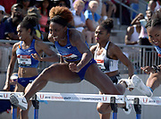 Jul 27, 2019; Des Moines, IA, USA; Nia Ali places second in the women's 100m hurdles in 12.55 during the USATF Championships at Drake Stadium.