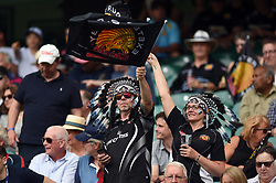 Exeter Chiefs fans in the crowd wave flags in support - Mandatory byline: Patrick Khachfe/JMP - 07966 386802 - 01/06/2019 - RUGBY UNION - Twickenham Stadium - London, England - Exeter Chiefs v Saracens - Gallagher Premiership Final