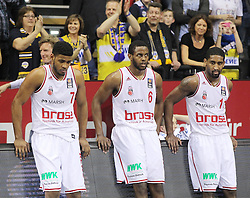 12.04.2015, Brose Arena, Bamberg, GER, Beko Basketball BL, Brose Baskets Bamberg vs EWE Baskets Oldenburg, Top Four 2015, Finale, im Bild Ryan Thompson ( brose baskets Bamberg ) Darius Miller ( brose baskets Bamberg ) rechts Brad Wanamaker ( brose baskets Bamberg ) nach der Niederlage // during the Beko Basketball Bundes league TOP FOUR 2015 final match between Brose Baskets Bamberg and EWE Baskets Oldenburg at the Brose Arena in Bamberg, Germany on 2015/04/12. EXPA Pictures © 2015, PhotoCredit: EXPA/ Eibner-Pressefoto/ Langer<br /> <br /> *****ATTENTION - OUT of GER*****