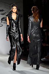© Licensed to London News Pictures. 19/02/2016. Models on the catwalk at the PAUL COSTELLO Autumn/Winter 2016 presentation. Models, buyers, celebrities and the stylish descend upon London Fashion Week for the Autumn/Winters 2016 clothes collection shows. London, UK. Photo credit: Ray Tang/LNP