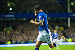 LIVERPOOL, ENGLAND - Wednesday, January 27, 2010: Everton's Tim Cahill celebrates scoring the opening goal against Sunderland during the Premiership match at Goodison Park. (Photo by: David Rawcliffe/Propaganda)