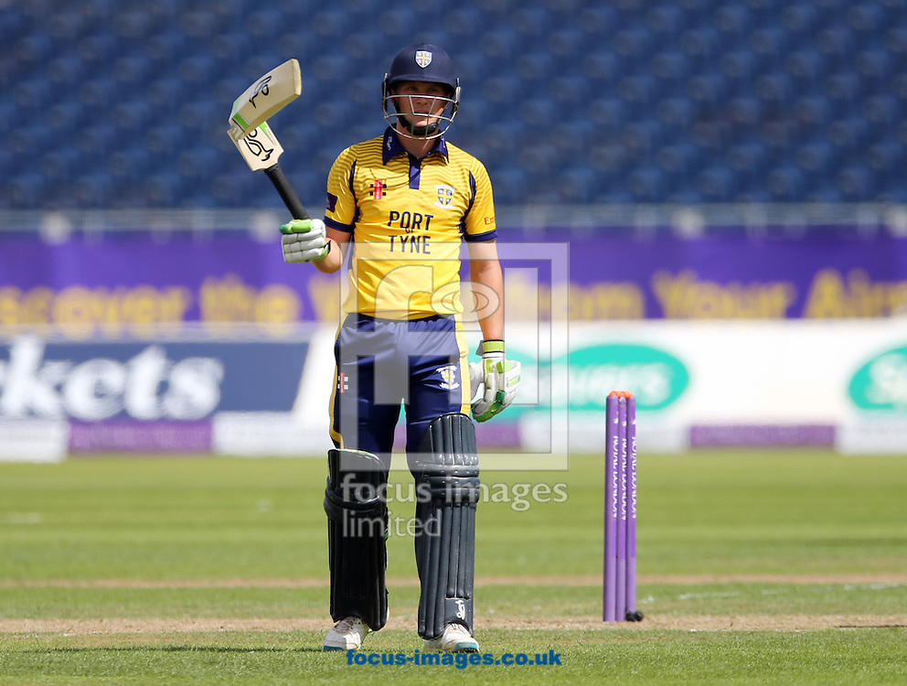 Scott Borthwick of Durham CCC holds up his broken bat during the Royal London One Day Cup match at Emirates Riverside, Chester-le-Street<br /> Picture by Simon Moore/Focus Images Ltd 07807 671782<br /> 31/07/2016