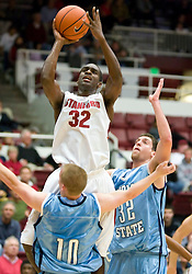 November 6, 2009; Stanford, CA, USA;  Stanford Cardinal guard Da'Veed Dildy (32) is called for a charge after jumping into Sonoma State Seawolves guard Chris Weber (10) during the first half of an exhibition game at Maples Pavilion.