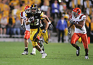 08 SEPTEMBER 2007: Iowa wide receiver Colin Sandeman (22) tries to run away from the defense in Iowa's 35-0 win over Syracuse at Kinnick Stadium in Iowa City, Iowa on September 8, 2007.