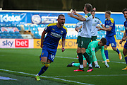AFC Wimbledon attacker Shane McLoughlin (19) GOAL 2-2 during the EFL Sky Bet League 1 match between AFC Wimbledon and Plymouth Argyle at the Kiyan Prince Foundation Stadium, London, England on 19 September 2020.
