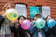 Medics inflate balloons as striking junior doctors picket outside Great Ormond Street Hospital for Children, Bloomsbury, London.<br /> Picture by Paul Davey/Focus Images Ltd +447966 016296<br /> 26/04/2016