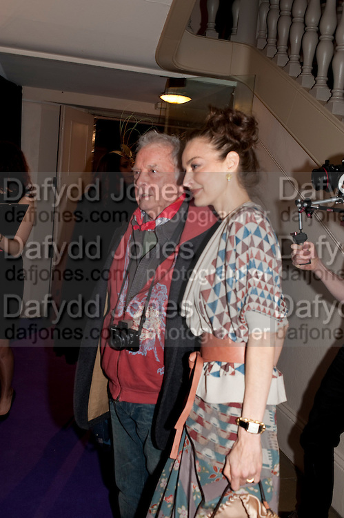 DAVID BAILEY; CATHERINE BAILEY, The Surrealist Ball in aid of the NSPCC. Hosted by Lucy Yeomans and Harry Blain. Banqueting House. Whitehall. 17 March 2011. -DO NOT ARCHIVE-© Copyright Photograph by Dafydd Jones. 248 Clapham Rd. London SW9 0PZ. Tel 0207 820 0771. www.dafjones.com.