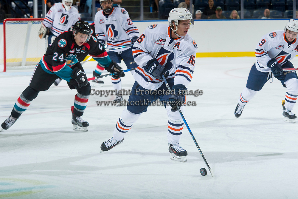 KELOWNA, CANADA - SEPTEMBER 5: Nick Chyzowski #16 of the Kamloops Blazers looks for the pass against the Kelowna Rockets on September 5, 2017 at Prospera Place in Kelowna, British Columbia, Canada.  (Photo by Marissa Baecker/Shoot the Breeze)  *** Local Caption ***