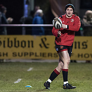 Dragons' Hallam Amos during the pre match warm up.<br /> <br /> Photographer Simon Latham/Replay Images<br /> <br /> Guinness PRO14 - Dragons v Edinburgh - Friday 23rd February 2018 - Eugene Cross Park - Ebbw Vale<br /> <br /> World Copyright &copy; Replay Images . All rights reserved. info@replayimages.co.uk - http://replayimages.co.uk