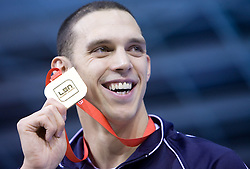 Hugues Duboscq of France winning men's 200m breaststroke race and setting the European record with time 2.04.59. during the day 4 of LEN European Short Course Swimming Championships Rijeka 2008, on December 14, 2008,  in Kantrida pool, Rijeka, Croatia. (Photo by Vid Ponikvar / Sportida)