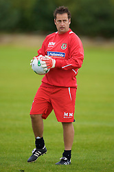 WREXHAM, WALES - Monday, August 18, 2008: Wales' goalkeeping coach Mark Morris training at Colliers Park ahead of their UEFA European U21 Championship Group 10 Qualifying match against Romania. (Photo by David Rawcliffe/Propaganda)