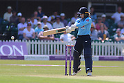 Tammy Beaumont of England (12) square cuts for four runs during the Royal London Women's One Day International match between England Women Cricket and Australia at the Fischer County Ground, Grace Road, Leicester, United Kingdom on 4 July 2019.