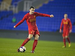 READING, ENGLAND - Wednesday, March 12, 2014: Liverpool's Jordan Williams scores the first goal against Reading to make the scores 2-1 during the FA Youth Cup Quarter-Final match at the Madejski Stadium. (Pic by David Rawcliffe/Propaganda)