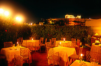 Rooftop restaurant of the Hotel Divani-Palace Acropolis (The Parthenon in the background), Athens, Greece