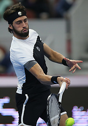 BEIJING, Oct. 7, 2018  Nikoloz Basilashvili of Georgia competes during the men's final against Juan Martin del Potro of Argentina at the China Open tennis tournament in Beijing, capital of China on Oct. 7, 2018. Basilashvili won 2-0 and claimed the title. (Credit Image: © Xinhua via ZUMA Wire)