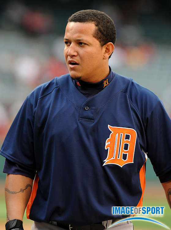 May 26, 2008; Anaheim, CA, USA; Detroit Tigers first baseman Miguel Cabrera (24) during batting practice before game against the Los Angeles Angels at Angel Stadium. Mandatory Credit: Kirby Lee/Image of Sport-US PRESSWIRE