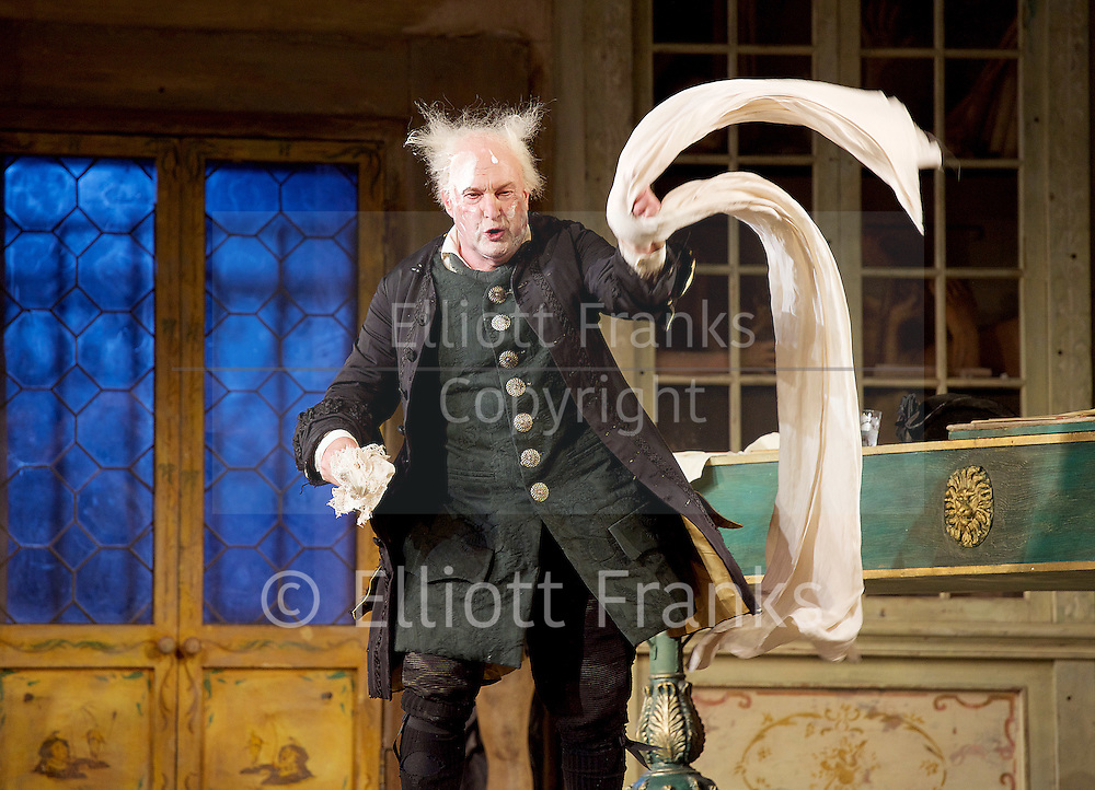 The Barber of Seville <br /> by Rossini <br /> English National Opera, London Coliseum, London, Great Britain <br /> Rehearsal <br /> 25th September 2015 <br /> <br /> <br /> <br /> Andrew Shore as Doctor Bartolo <br /> <br /> <br /> <br /> Photograph by Elliott Franks <br /> Image licensed to Elliott Franks Photography Services