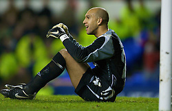 LIVERPOOL, ENGLAND - Thursday, February 21, 2008: Everton's goalkeeper Tim Howard looks dejected after conceding a SK Brann Bergen goal during the UEFA Cup Round of 32 2nd Leg match at Goodison Park. (Photo by David Rawcliffe/Propaganda)