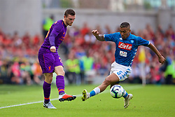 DUBLIN, REPUBLIC OF IRELAND - Saturday, August 4, 2018: Liverpool's Andy Robertson and Napoli's Allan Marques Loureiro during the preseason friendly match between SSC Napoli and Liverpool FC at Landsdowne Road. (Pic by David Rawcliffe/Propaganda)