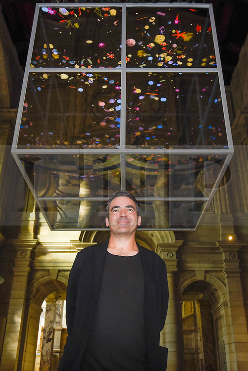 """© Licensed to London News Pictures. 13/09/2019. LONDON, UK. Sam Jacobs, designer of """"Sea Things"""" on display at the V&A museum as part of London Design Festival.  The festival, now in its 17th year, includes installations across the capital and runs 14 to 22 September 2019.  Photo credit: Stephen Chung/LNP"""