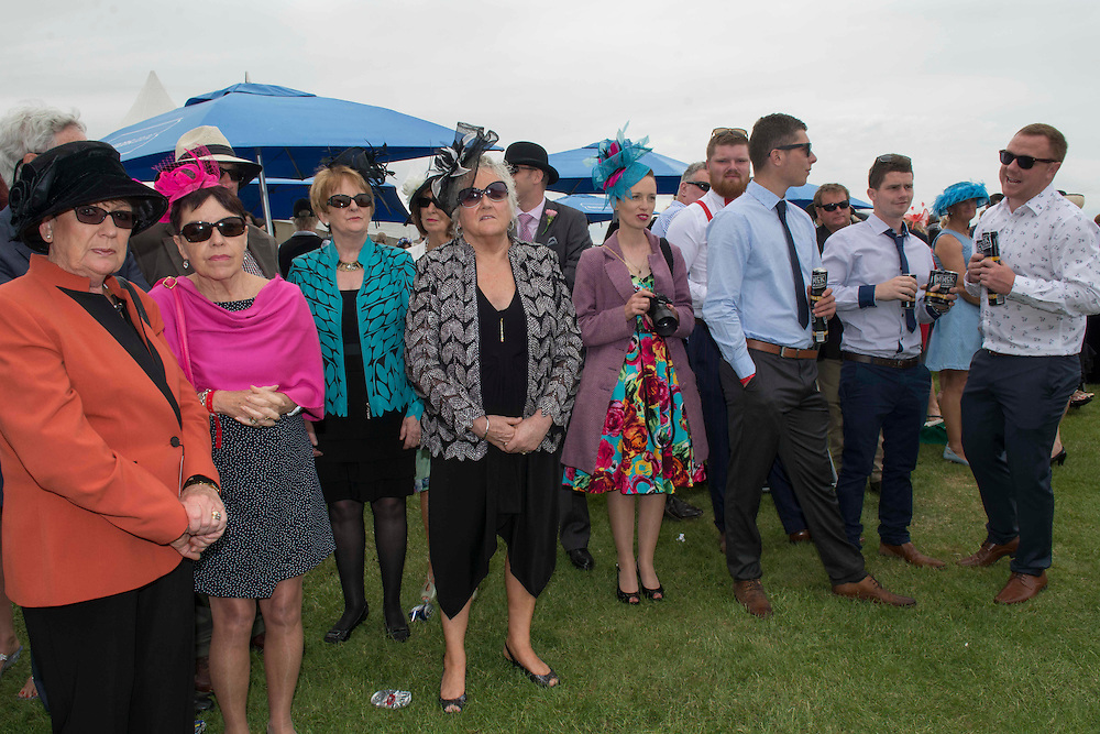 Well dressed watchers of the Fashion in the Field contest, Riccarton Racecourse, Christchurch, New Zealand, Saturday, 14 November, 2015.  <br /> Credit:SNPA / David Alexander