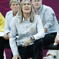 30 July 2012: Australia head coach Carrie Graf is seen during the 74-70 Team France overtime victory over Team Australia, during the women's basketball preliminary, at the Basketball Arena, in London, Great Britain.