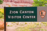 Zion Visitor Center sign, Zion National Park, Utah