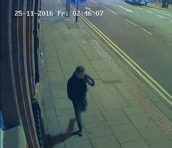 © Licensed to London News Pictures . Manchester , UK . CCTV still taken on the morning of 25th November 2016 supplied via Greater Manchester Police of a man GMP want to speak to in relation to a fatal fire as this evening (5th December 2016) Greater Manchester Police have launched a murder investigation into the deaths of James Evans (57) and Wayne Bardsley (51) , who died inside a building the corner of Faulkner Street and Nicholas Street in Manchester's China Town . Photo credit : Joel Goodman/LNP