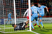 Coventry's forward Marc McNulty scores Coventry's first goal during the EFL Sky Bet League 2 match between Stevenage and Coventry City at the Lamex Stadium, Stevenage, England on 21 November 2017. Photo by Matt Bristow.