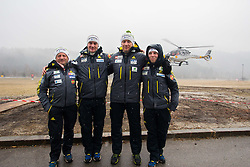 Jani Grilc, Nejc Frank, Matjaž Polak, Urban Jarc (left to right), Slovenian coaches before take off to Planica with Flycom helicopter during FIS World Cup Ski Jumping Final, on March 22, 2015 in Planica, Slovenia. Photo by Ziga Zupan / Sportida